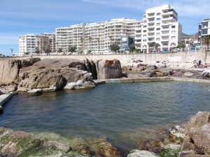 Saunders Rocks tidal pool with the President Hotel in the background