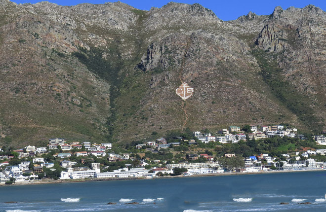 Bay with the gb and anchor on the hottentots holland mountain range