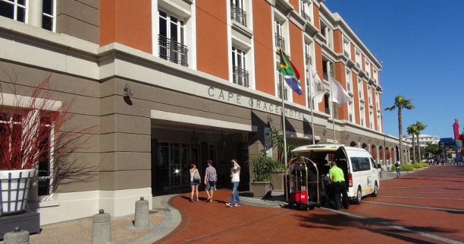 Cape Grace Hotel's main entrance at the V&A Waterfront