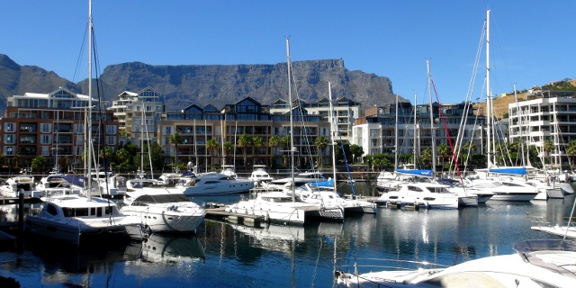view of the marina and Table Mountain from the Cape Grace Hotel