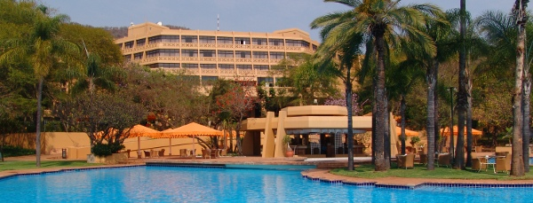 Sun City Hotel in South Africa, with the pool in the foreground