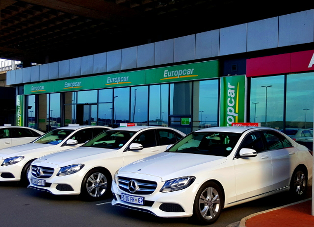 Europcar offices at Durban's King Shaka International Airport, behind a row of Mercedes