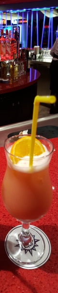 Fruit cocktail with a yellow straw