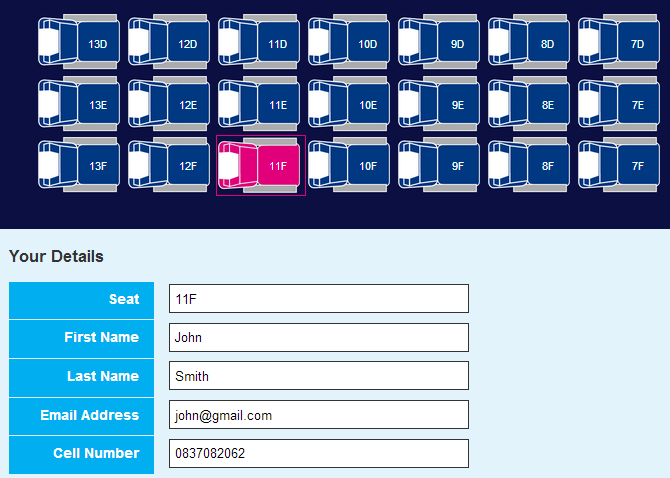 FlySafair Competition Select Your Seat.