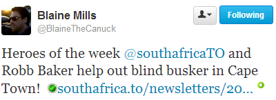Tweet : Rob Baker & South Africa Travel Online help out blind busker