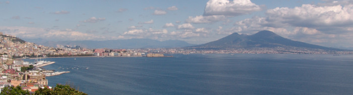 Bay of Naples with Mount Vesuvius in the background.