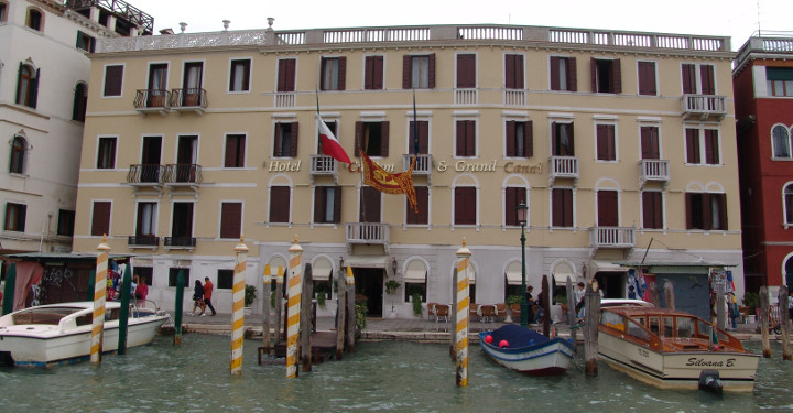 Hotel on the Grand Canal, Venice, Italy.