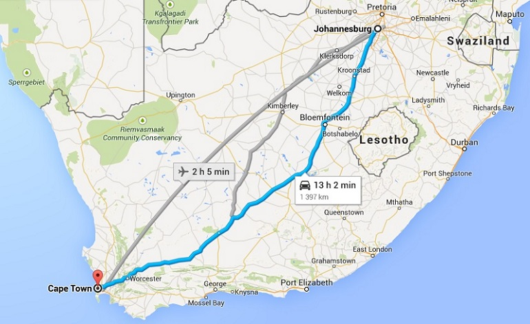Cheapest Means Of Travel Between Cape Town And Johannesburg