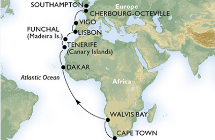 cruise itinerary from Cape Town to Southampton