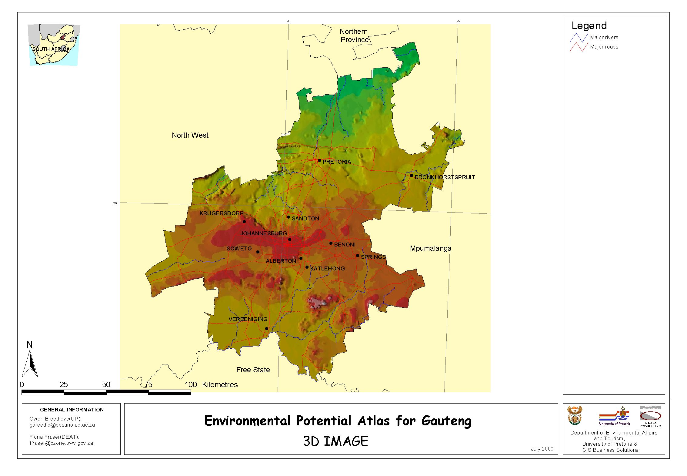 map of Gauteng