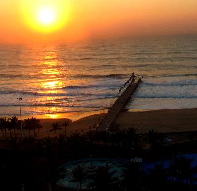 Durban sunrise over the beach