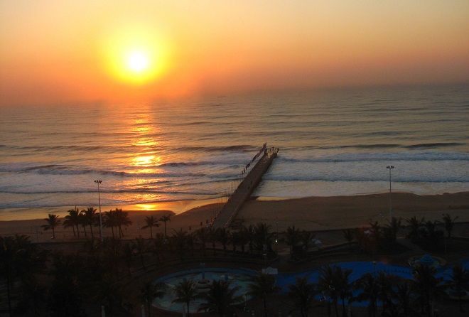 Durban sunrise over the sea