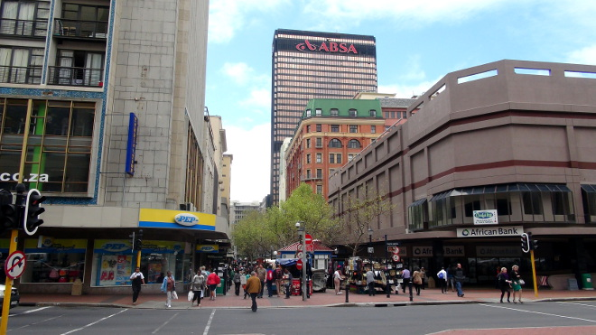 Cape Town's St George's Mall with the ABSA Building