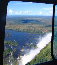 view of Victoria Falls from a helicopter flight