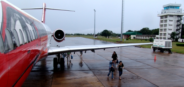 1time plane at Livingstone Airport, Zambia