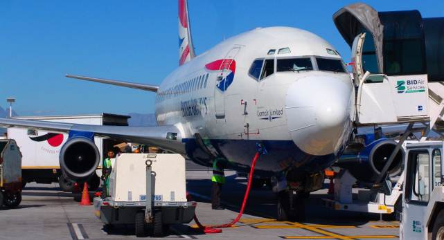 BA airline aircraft parked at Cape Town airport in South Africa
