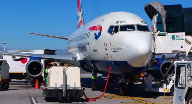 British Airways plane parked at Cape Town International Airport