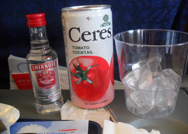 free drinks - Vodka and tomato juice on a British Airways flights