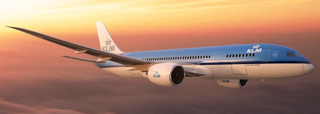 KLM 787 aircraft in the sky