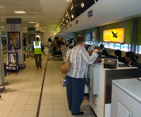British Airways check-in queue at Cape Town International Airport