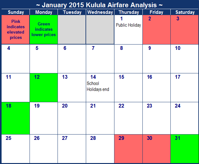 January Calendar 2015 With Holidays : Kulula january flight deals
