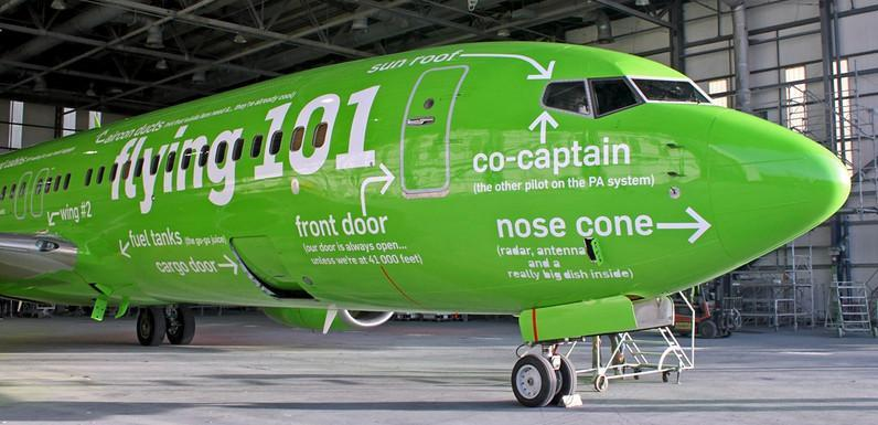 Kulula Airlines aircraft painted with humorous slogans on it