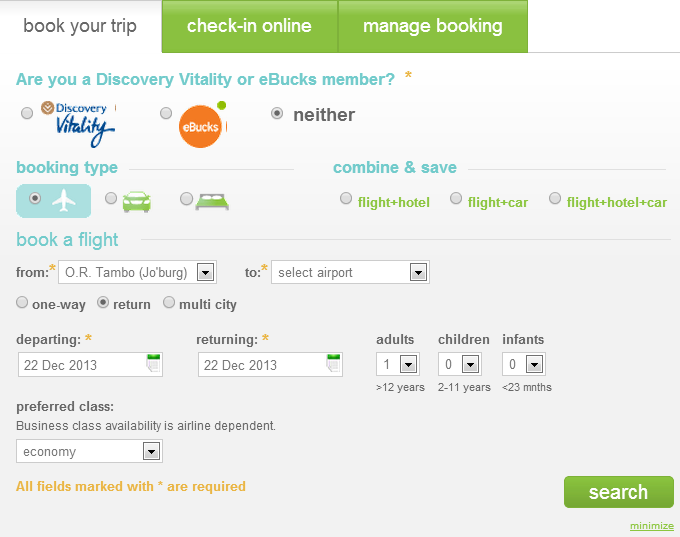 Kulula bookings when neither Discovery Vitality or eBucks is selected