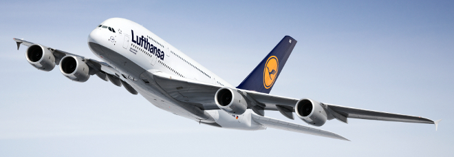 Lufthansa A380 in mid-flight