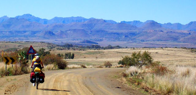 cycling through Lesotho Mountains