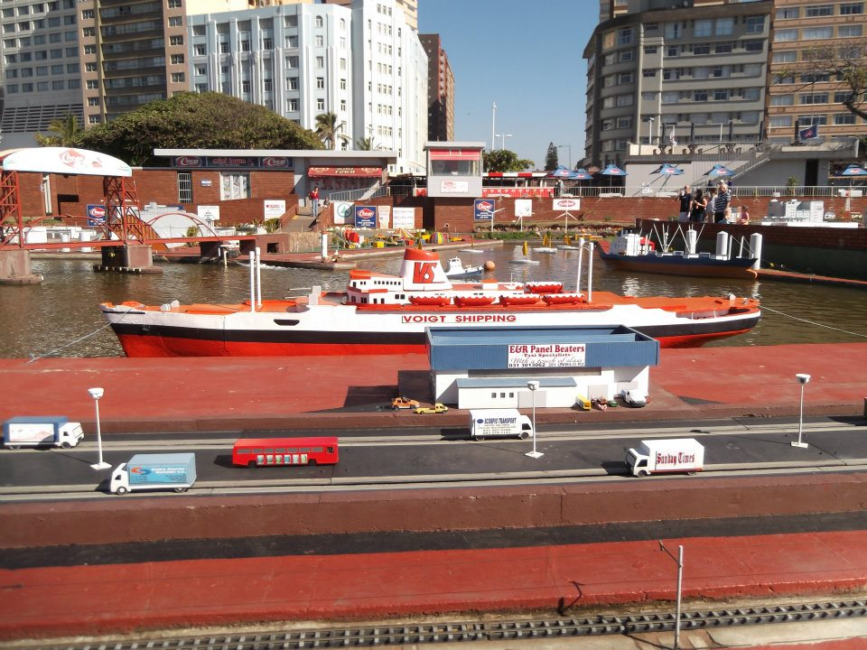Durban Miniland, with a cruise ship and the harbour
