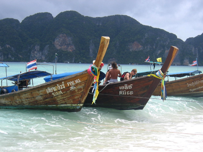 boats in Thailand, on the beach