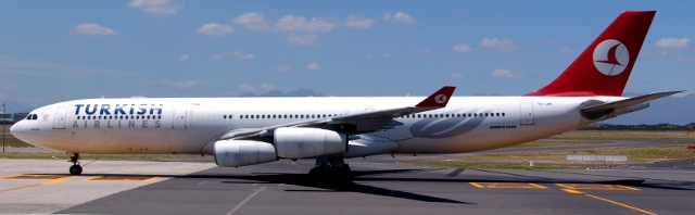 Turkish Airlines plane at Cape Town Airport