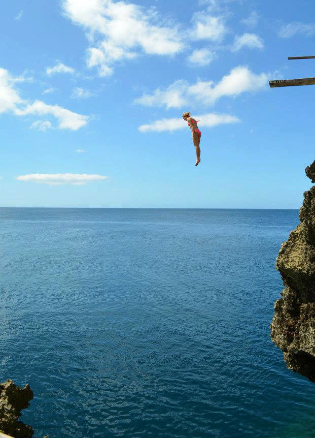 high diving at Boracay in the Philippines