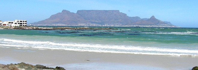 classic view of Cape town across Table Bay