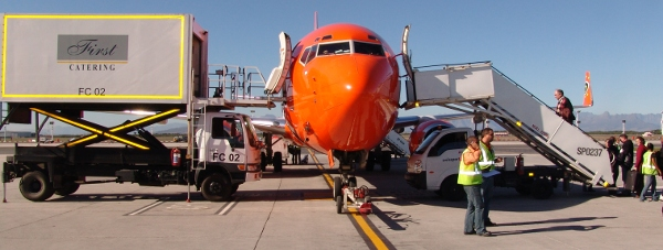 First Catering and Mango Airlines plane