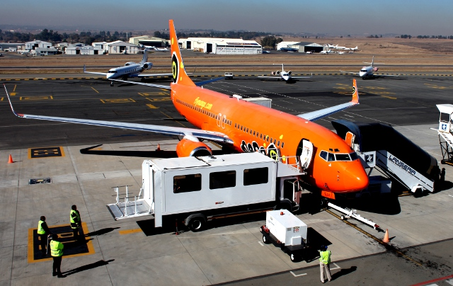 Mango Airlines plane parked at Lanseria Airport in Johannesburg