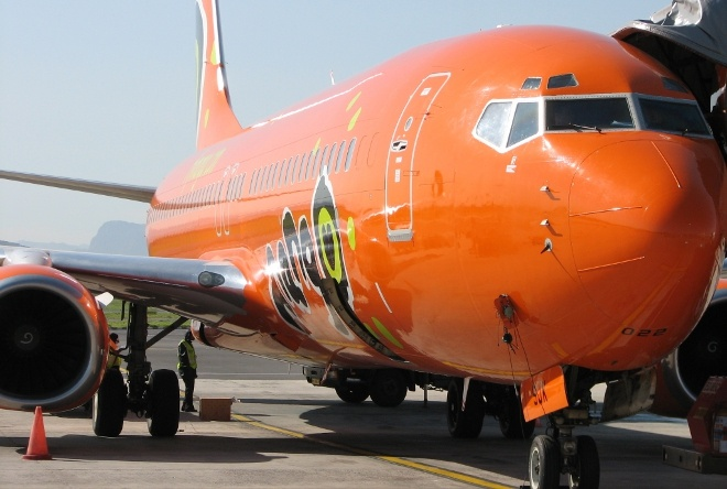 Mango Airline plane parked at Cape Town International Airport