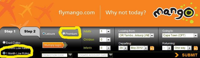 Mango Airlines dashboard for monthly low rates and premium flights