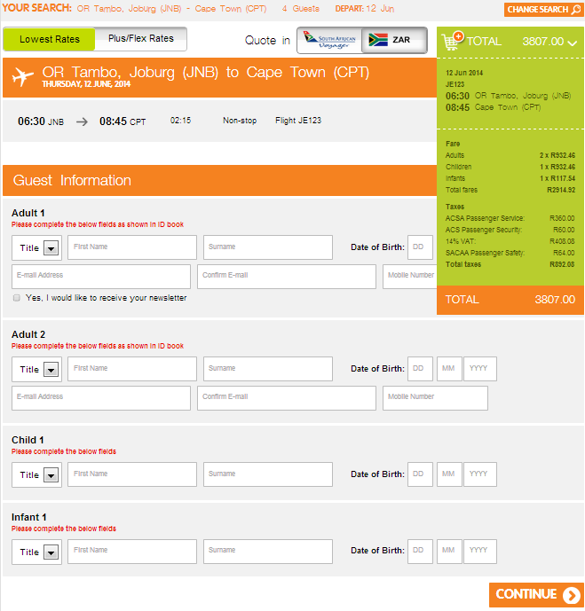 Filling in the passenger details for a Mango flight booking