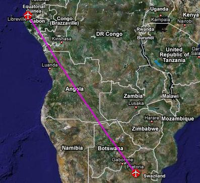 flight path from Libreville to Johannesburg