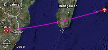 flight path from Mauritius to Johannesburg
