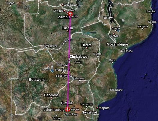 flight path from Ndola (Zambia) to Johannesburg (South Africa)