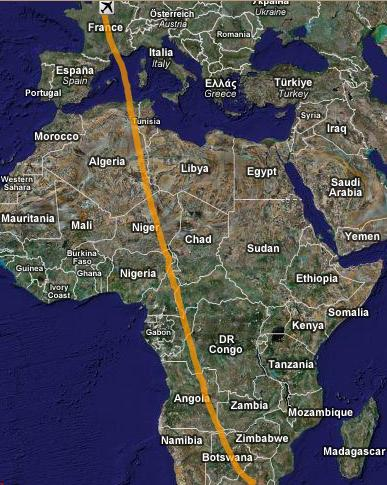 1c80b4e1c3f Flight path from Paris to Johannesburg