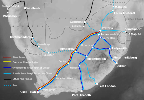 Shosholoza Meyl train routes