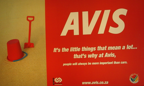 Avis car hire advert at Johannesburg Airport