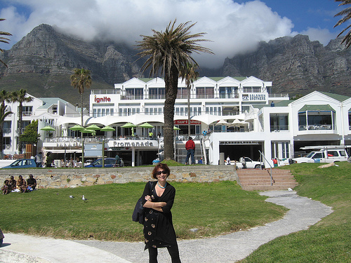 Meg at the beachfront in Camps Bay