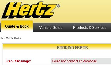 Hertz not connecting to database