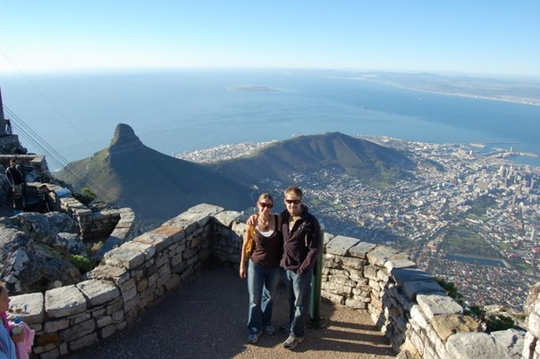 on Table Mountain with Lion's head in background