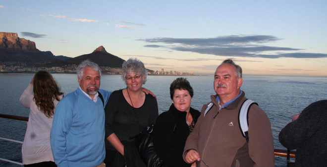 cruising into Cape Town on the MSC Sinfonia