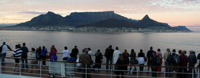 Cruising to Cape Town in the morning on the MSC Sinfonia
